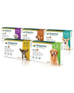 Simparica 20mg Chewable Tablets for Small Dogs 5 - 10kg (pack of 3)