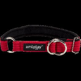 Amiplay Cotton Half Check Collar Red - Small