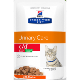 Hill's Prescription Diet c/d Feline - Urinary Stress Reduced Calorie Chicken Pouches 48 x 85g - Dogtor