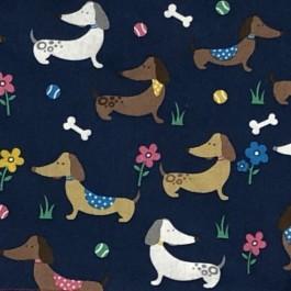 Proper Dog Navy Dachshund Print Bandana - Large - Dogtor
