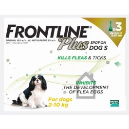 Frontline Plus Spot-on for small dogs - 3 pipettes - Dogtor