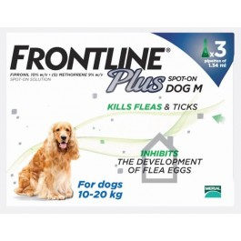 Frontline Plus Spot-on for medium dogs - 3 pipettes - Dogtor